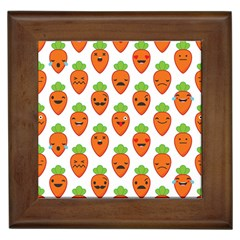 Seamless Background Carrots Emotions Illustration Face Smile Cry Cute Orange Framed Tiles