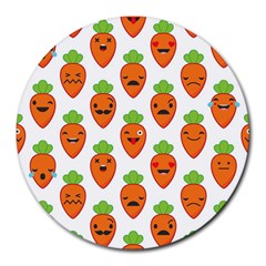Seamless Background Carrots Emotions Illustration Face Smile Cry Cute Orange Round Mousepads