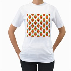 Seamless Background Carrots Emotions Illustration Face Smile Cry Cute Orange Women s T Shirt (white) (two Sided)