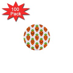 Seamless Background Carrots Emotions Illustration Face Smile Cry Cute Orange 1  Mini Buttons (100 Pack)