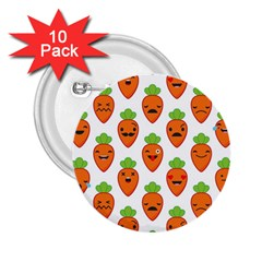 Seamless Background Carrots Emotions Illustration Face Smile Cry Cute Orange 2 25  Buttons (10 Pack)
