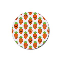 Seamless Background Carrots Emotions Illustration Face Smile Cry Cute Orange Rubber Round Coaster (4 Pack)