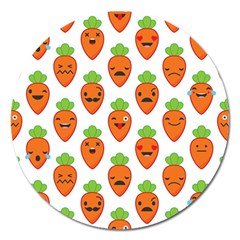 Seamless Background Carrots Emotions Illustration Face Smile Cry Cute Orange Magnet 5  (round)