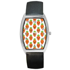 Seamless Background Carrots Emotions Illustration Face Smile Cry Cute Orange Barrel Style Metal Watch