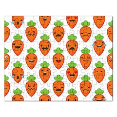 Seamless Background Carrots Emotions Illustration Face Smile Cry Cute Orange Rectangular Jigsaw Puzzl