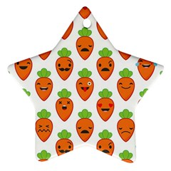 Seamless Background Carrots Emotions Illustration Face Smile Cry Cute Orange Star Ornament (two Sides)