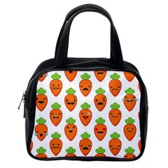 Seamless Background Carrots Emotions Illustration Face Smile Cry Cute Orange Classic Handbags (one Side)
