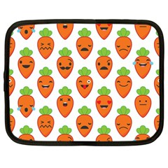 Seamless Background Carrots Emotions Illustration Face Smile Cry Cute Orange Netbook Case (xxl)