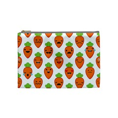 Seamless Background Carrots Emotions Illustration Face Smile Cry Cute Orange Cosmetic Bag (medium)