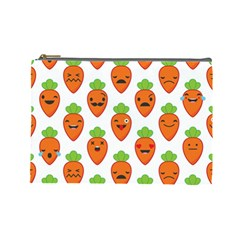 Seamless Background Carrots Emotions Illustration Face Smile Cry Cute Orange Cosmetic Bag (large)