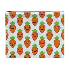Seamless Background Carrots Emotions Illustration Face Smile Cry Cute Orange Cosmetic Bag (xl)