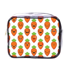 Seamless Background Carrots Emotions Illustration Face Smile Cry Cute Orange Mini Toiletries Bags