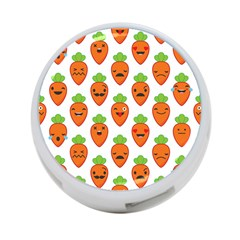 Seamless Background Carrots Emotions Illustration Face Smile Cry Cute Orange 4 Port Usb Hub (two Sides)
