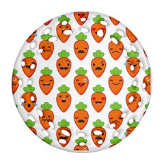 Seamless Background Carrots Emotions Illustration Face Smile Cry Cute Orange Ornament (round Filigree)
