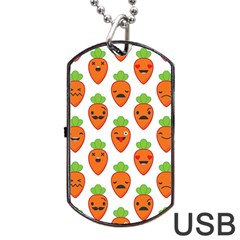 Seamless Background Carrots Emotions Illustration Face Smile Cry Cute Orange Dog Tag Usb Flash (two Sides)