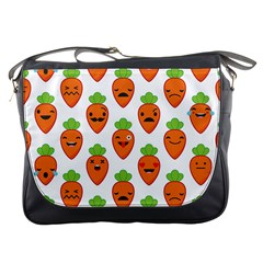Seamless Background Carrots Emotions Illustration Face Smile Cry Cute Orange Messenger Bags