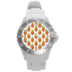 Seamless Background Carrots Emotions Illustration Face Smile Cry Cute Orange Round Plastic Sport Watch (l)