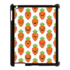 Seamless Background Carrots Emotions Illustration Face Smile Cry Cute Orange Apple Ipad 3/4 Case (black)