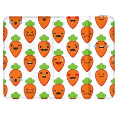 Seamless Background Carrots Emotions Illustration Face Smile Cry Cute Orange Samsung Galaxy Tab 7  P1000 Flip Case