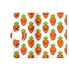 Seamless Background Carrots Emotions Illustration Face Smile Cry Cute Orange Kindle Fire Hdx 8 9  Flip 360 Case