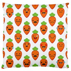 Seamless Background Carrots Emotions Illustration Face Smile Cry Cute Orange Large Flano Cushion Case (two Sides)