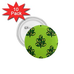 Seamless Background Green Leaves Black Outline 1 75  Buttons (10 Pack)