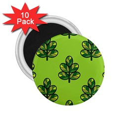 Seamless Background Green Leaves Black Outline 2 25  Magnets (10 Pack)