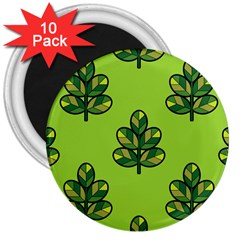 Seamless Background Green Leaves Black Outline 3  Magnets (10 Pack)