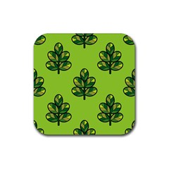 Seamless Background Green Leaves Black Outline Rubber Coaster (square)
