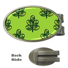 Seamless Background Green Leaves Black Outline Money Clips (oval)