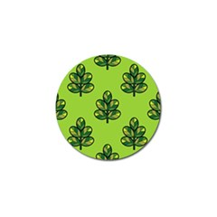 Seamless Background Green Leaves Black Outline Golf Ball Marker