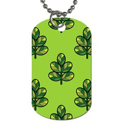 Seamless Background Green Leaves Black Outline Dog Tag (two Sides)
