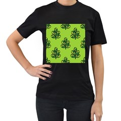 Seamless Background Green Leaves Black Outline Women s T Shirt (black) (two Sided)