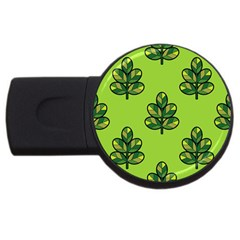 Seamless Background Green Leaves Black Outline Usb Flash Drive Round (4 Gb)