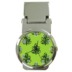 Seamless Background Green Leaves Black Outline Money Clip Watches