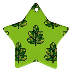 Seamless Background Green Leaves Black Outline Star Ornament (two Sides)