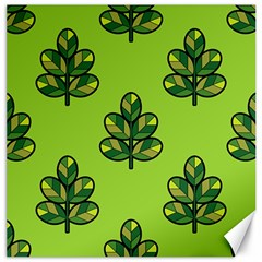 Seamless Background Green Leaves Black Outline Canvas 16  X 16