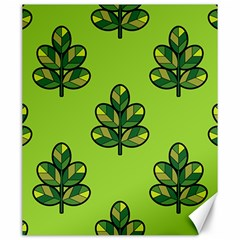 Seamless Background Green Leaves Black Outline Canvas 20  X 24