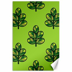 Seamless Background Green Leaves Black Outline Canvas 24  X 36