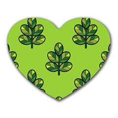 Seamless Background Green Leaves Black Outline Heart Mousepads