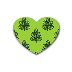 Seamless Background Green Leaves Black Outline Rubber Coaster (heart)