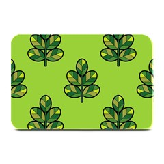 Seamless Background Green Leaves Black Outline Plate Mats