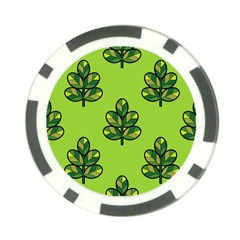 Seamless Background Green Leaves Black Outline Poker Chip Card Guard