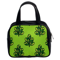 Seamless Background Green Leaves Black Outline Classic Handbags (2 Sides)