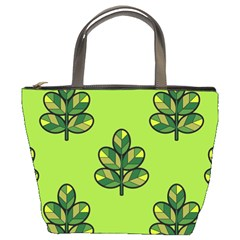 Seamless Background Green Leaves Black Outline Bucket Bags