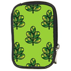 Seamless Background Green Leaves Black Outline Compact Camera Cases