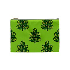 Seamless Background Green Leaves Black Outline Cosmetic Bag (medium)