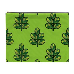 Seamless Background Green Leaves Black Outline Cosmetic Bag (xl)