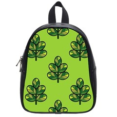 Seamless Background Green Leaves Black Outline School Bag (small)