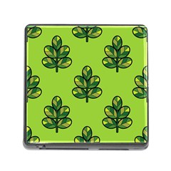 Seamless Background Green Leaves Black Outline Memory Card Reader (square)